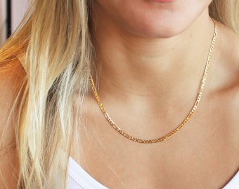 Figaro Gold Herringbone Necklace - Aura Collection