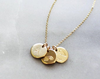 Petite Initial Disc Necklace