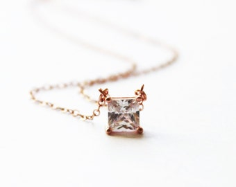 Dainty CZ Necklace, Solitaire Necklace, Floating CZ Necklace, Bridesmaid Necklace, Silver, Rose or Gold Necklace, Layered Necklace