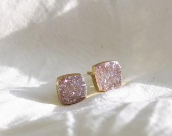 White Druzy Gold Earrings