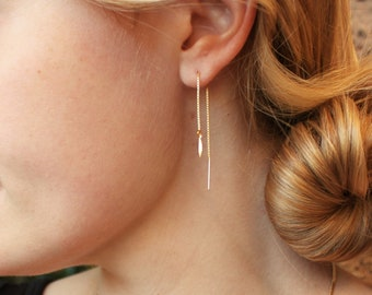 Gold Leaf Threader Earrings