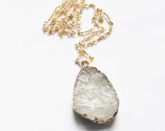 Crystal Necklace, Long Necklace, Long Quartz Necklace, Raw Crystal Necklace, Stone Necklace, Layering Necklace, The Silver Wren