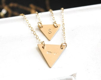 Triangle Layered Necklace Set, Double Strand Initial Necklace, Silver or Gold Necklace,  Layering Necklaces, Dainty Jewelry, The Silver Wren