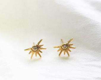 Gold Sun Ray Earrings
