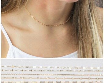 Gold Choker Necklace - Choose your chain Style