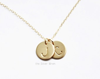 Gold Initial Medium Disc Necklace