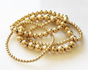 Beaded Bracelet, Bracelets for Women, Gift for her, Gold Ball Bracelet Stretchy Bracelet, Gold Bracelet, Ball Bracelet, Jewelry, Bracelet