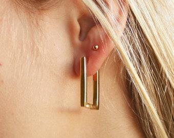 Rectangle Gold Huggie Hoop Earrings  - Aura Collection