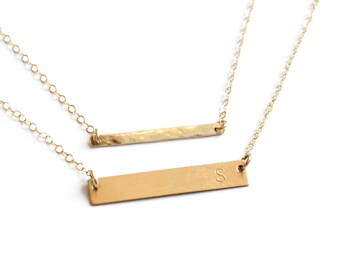 Customized Name Bar Necklace, Silver, Rose or Gold Bar Necklace, Initial Necklace, Personalized Bar Necklace, Dainty Layered Necklace Set
