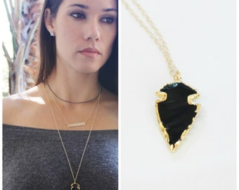 Black Arrowhead Necklace