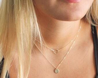 Petite Disc & Mini Eternity Ring Layered Necklace Set