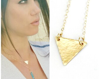 Gold Triangle Necklace, Dainty Gold Necklace, Gold Layering Necklace, Gold Necklace Delicate Layering, Gold Minimal Necklace