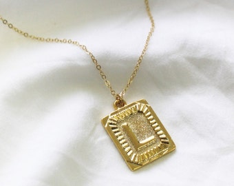 Gold Rectangle Initial Pendant Necklace