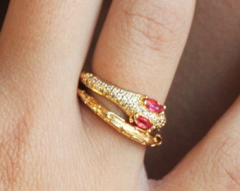Gold CZ Snake Wrap Ring - Aura Collection