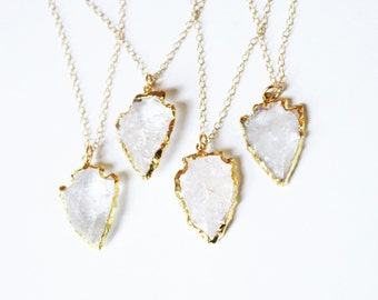 Arrowhead Necklace, Bohemian Necklace, Crystal Arrowhead Necklace, Layering Necklace, Boho Necklace, Long Necklace