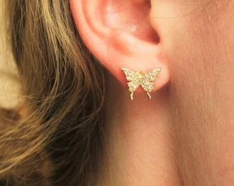 CZ Gold Butterfly Stud Earrings