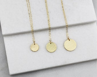 Hammered Disc Necklace, Silver, Rose or Gold Necklace, Minimalist Necklace, Charm Disc Necklace, Charm Necklace, Gift Women, Jewelry Gift