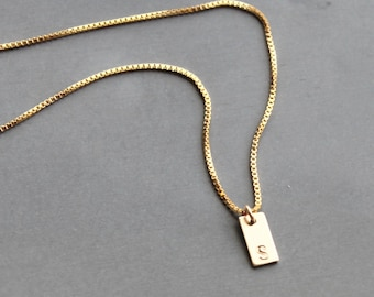 Mini Rectangle Charm Necklace