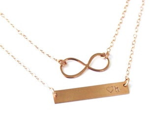 Infinity & Dainty Bar Layered Necklace Set