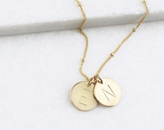 Medium Disc Initial Necklace