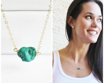 Genuine Turquoise Nugget Necklace