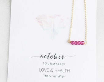 Birthday Gifts For Her, October Birthstone, Necklaces for Women, Tourmaline, October Birthday
