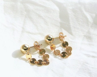 Coin Chain Drop Earring in Gold