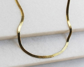Gold Herringbone Chain Necklace - Aura Collection