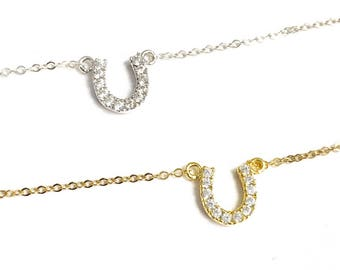 Tiny Pave Horseshoe Necklace