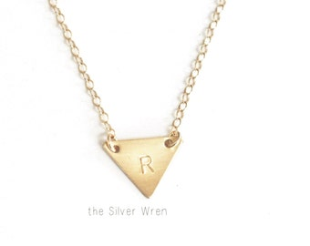 Tiny Triangle Initial Necklace