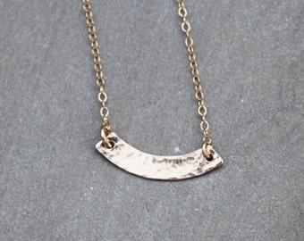 Hammered Gold Curve Necklace