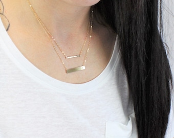 Petite and Dainty Bar Layered Necklace Set