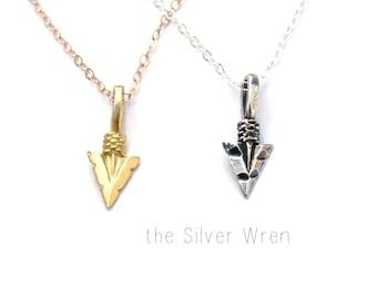 Tiny Arrowhead Necklace, Silver or Gold Arrowhead Necklace, Delicate Necklace, Arrow Necklace, Layering Necklace, Dainty Arrowhead