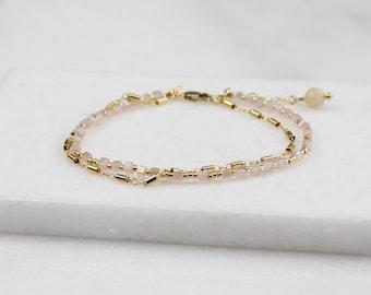 Aqua or Blush Double Chain Bracelet