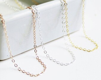 Perfect Layering Necklace, Thin Gold Necklace Silver or Rose, Simple Necklace, Long Necklace, Dainty Chain The Silver Wren