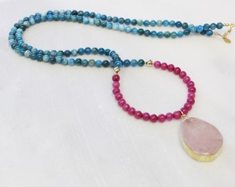 Long Pendant Necklace - Blue Apatite & Pink Jade