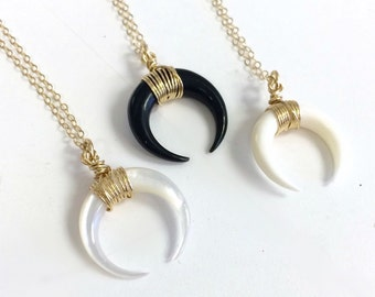 Small Bone Horn Necklace, Double Horn Necklace, Gold Layering Necklace, Boho Necklace, Moon Necklace Black or White