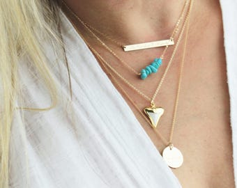 Real Turquoise Necklace, Turquoise Jewelry, Real Kingman Turquoise, Boho Necklace, Gifts for Her, Silver or Gold Layering Necklace