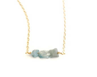 Raw Aquamarine Beaded  Bar Necklace