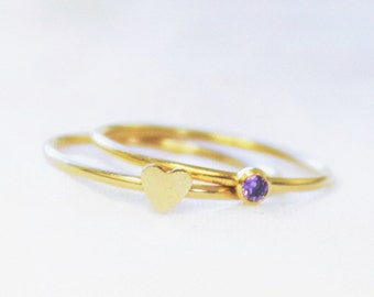 Set of 2 Rings - Gold Tiny Birthstone Ring & Heart Ring
