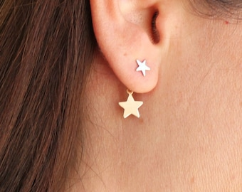 Double Star Gold Stud Earrings