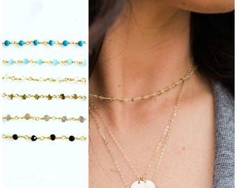 Rosary Gem Choker Necklace, Choker Necklace, The Silver Wren, Gemstone Necklace, Layer Necklace, Dainty Necklace, Short Necklace