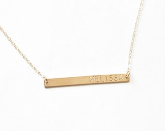 Skinny Bar Necklace, Thin Bar Necklace, Custom Name Necklace, Personalized Necklace, Name Bar Necklace, Gift for Her in Silver, Rose or Gold