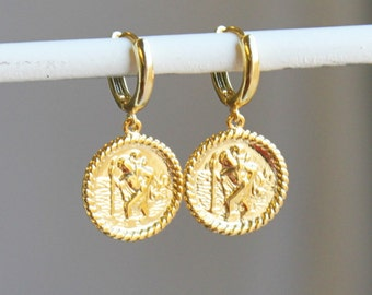 St. Christopher Gold Huggie Hoop Earrings - Aura Collection
