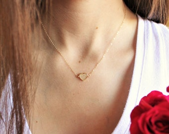 Suspended Gold Pave Heart Necklace DN245