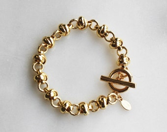 Chunky Gold Bracelet - Knot Chain - Aura Collection