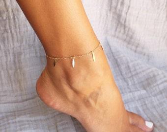Gold Spike Fringe Anklet Bracelet