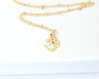 Om Necklace, Gold Necklace