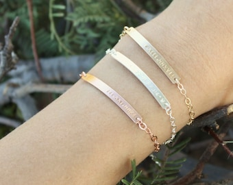 Personalized Thin Bar Bracelet