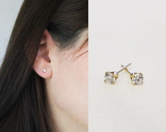 Tiny CZ Gold Earrings